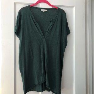 Linen madewell split-neck top green